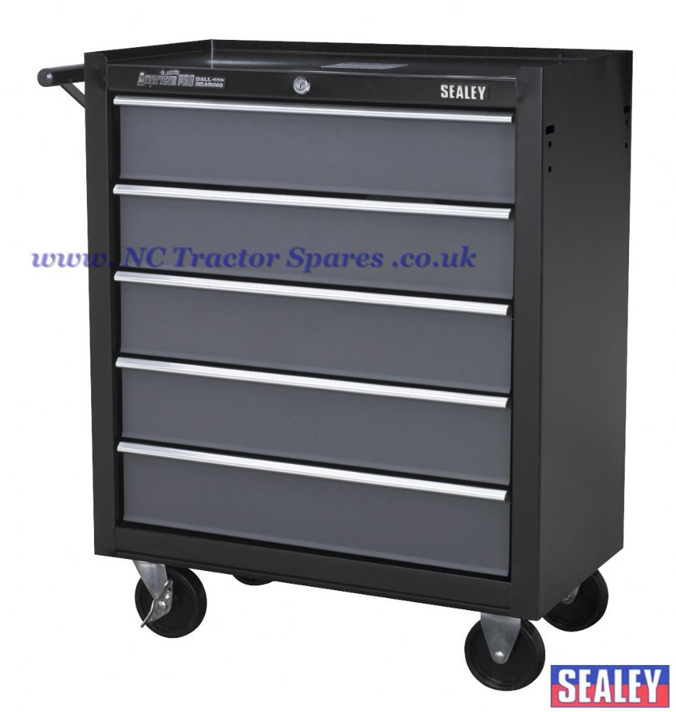 Rollcab 5 Drawer with Ball Bearing Runners - Black/Grey